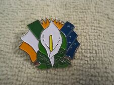 Easter Lily Badge w/Irelands Tri Color-Sunburst & Starry Plough Flags 1916 Eire