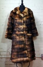 PRISTINE VINTAGE FITCH MINK FUR LONG COAT NATURAL BROWN BLONDE BLACK - SMALL