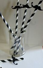 Retro  Black And White Paper Straws with Moustaches - Set of Six, Birthday Party