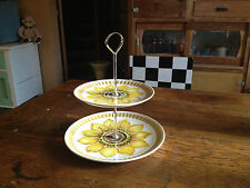 "Royal Worcester palissy England two tier ceramic Cake bicuits dish ""SunFlower"""