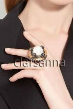 $790 Lanvin Chunky Faux Pearl Center Crystal Brass Glass Cross Ring sz 53 NWT