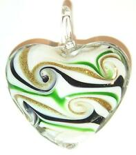 NECKLACE/PENDANT Lampworked Heart GOLDSTONE BLUE GREEN