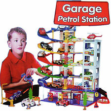 6 LEVEL KIDS MULTI STORY GARAGE CAR PARKING PATROL STATION TOY SET XMAS GIFT