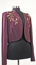 1930s Evening Jacket Purple Silk With Gold 3D Beaded Sequin Design Sz 10-12