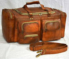 Real goat leather handmade travel luggage vintage holiday trip india duffel bag