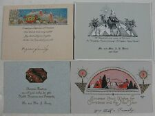 4 1920's Greeting Cards Colorful Merry Christmas
