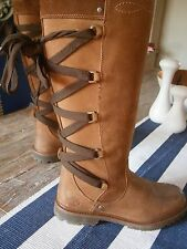 SUPERB WOMENS TIMBERLAND BROWN LEATHER KNEE HIGH BOOTS  SZ 5 UK 4.5
