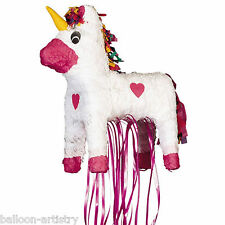 "23"" Magic White & Pink Unicorn Princess Pull Pinata Party Game Decoration"