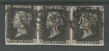 1840 PENNY BLACK SCARCE STRIP OF 3 (RC-RE) PLATE 1b FINE USED see scans
