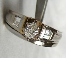 14k Diamond Ring Marquise, Baguette SI/G-H Wedding Engagement Set Vintage 7.3gr