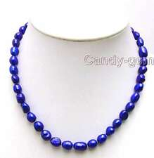 """SALE Blue Big 7-9mm BAROQUE natural Freshwater PEARL 17""""  Necklace-nec5781"""