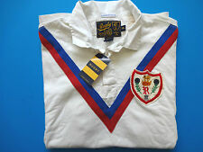 New Ralph Lauren Rugby Classic Fit Off White Chevron 100% Cotton Polo Shirt XS