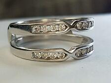 Solid 14ct white gold Morden designer Diamond set ring