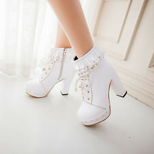 Womens Lolita Chunky Heel Platform Lace Up Round Toe Mary Jane Ankle Boots Shoes
