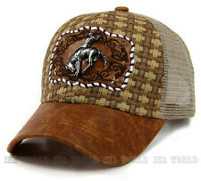Straw woven hat Cowboy Metal patched Mesh Trucker Snapback Baseball cap - Brown