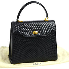Auth BALLY Quilted Hand Bag Black Patent Leather Vintage Switzer Land AK13557