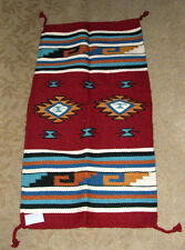 """Throw Rug Tapestry Southwest Western Hand Woven Wool 20x40"""" Replica #423"""