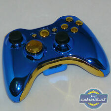 Xbox 360 Wireless Controller Official Custom Chrome Blue & Gold Fast Dispatch