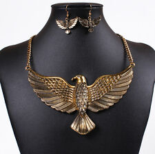 Gold Soaring Eagle Bird Pendant Bib Necklace Chain Collar Dangle Earrings Set
