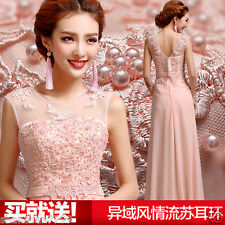 2015 pink Long Chiffon Bridesmaid Evening Formal Party Ball Gown Prom Dress F8