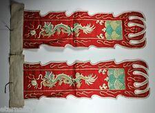 PAIR ANTIQUE CHINESE CHINA QING EMBROIDERY BADGE TEXTILE PANEL FLAG 19TH C