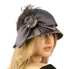 Winter Wool Baguette Bling Ribbon Feathers Cloche Bucket Hat Adjustable Gray