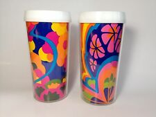 Psychedelic Flower Power Thermal Cup Tumbler set 2 picnic pencil retro mod
