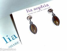 "NWT - LIA SOPHIA ""NAVETTE"" TIGER'S EYE DROP EARRINGS w/CRYSTALS - 2014/$38"
