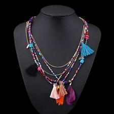 Ethnic Jewelry Chain Tassel Bead Multilayer Necklace Feather Pendant Colorful TL