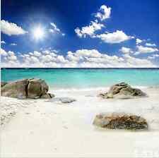 8x8FT Sun Sea Sand Beach Rocks Custom Photo Studio Background Backdrop Vinyl