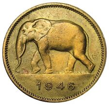 Belgian Congo 2 Francs coin 1946 KM#28 Elephant zoo CLEANED VE01