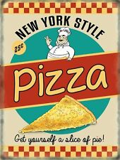 New York Style Pizza 50's Diner Kitchen Cafe Food Retro Large Metal/Tin Sign