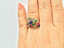 WIDE 14K YELLOW GOLD RUBY EMERALD BLUE GREEN YELLOW SAPPHIRE DIAMOND RING