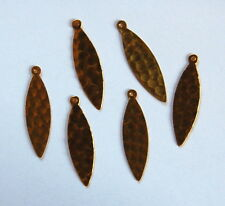 VINTAGE 6 RAW BRASS STAMPING PENDANT BEADS LONG FLAT NAVETTE marquis SHAPED BEAD