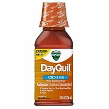 Vicks DayQuil Cold and Flu Relief Original Flavor Liquid, 8oz Each
