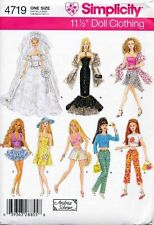 SIMPLICITY SEWING PATTERN 4719 BARBIE FASHION DOLL EVENING DRESS, CASUAL CLOTHES