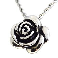 Womens Rose Pendant | Stainless Steel Large Rose Necklace | New Flower Jewelry