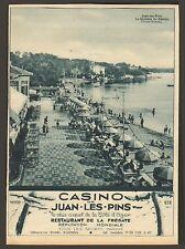 JUAN LES PINS CASINO PLAGE RESTAURANT DE LA FREGATE PUBLICITE 1930 AD