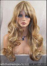 USA Blonde Mix 27.613 Human Hair Blend Skin Top Bangs Wig Heat Ok Iron Safe Noe