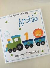 Personalised Handmade Boys Train 1st Birthday Card (Son Nephew Grandson Brother)