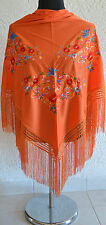 "Orange Spanish flamenco shawl with multifloral embroidery 66"" x 39"" From Spain"