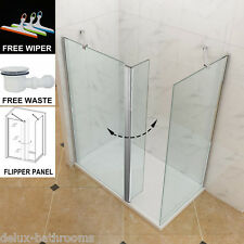1400x900mm Walk in shower Screen Tray With Waste Wet Room Enclosure Cubicle