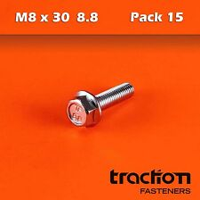 M8 x 30 Flange Bolt High Tensile 8.8 Metric 8mm 30mm Zinc Plated Hexagon Screw
