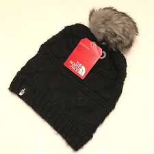 The North Face Women's Triple Cable Fur Pom Beanie Black