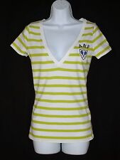 Abercrombie & Fitch Green Striped Top sz M Tennis Crest White Vneck