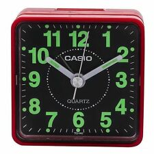 Casio TQ140-4 Red Travel Quartz Analogue Luminous Bedside Beep Alarm Clock New