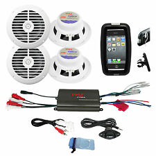 "Pyle Bike Bicycle Marine Grade 6.5"" White Speakers, 800W iPod MP3 Input Amplifie"
