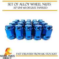 "Alloy Wheel Nuts Blue (16) 1/2"" UNF Tapered for Jeep Grand Cherokee 1991-2010"