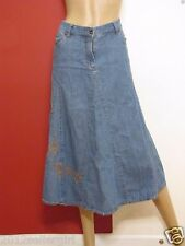 FADED GLORY ORIGINAL BLUE JEAN LONG MIDCALF FADED EMBROIDERED DENIM SKIRT SZ 12