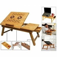 Foldable Laptop Table e table, Study Reading Eating with Cooling Fan Bamboo